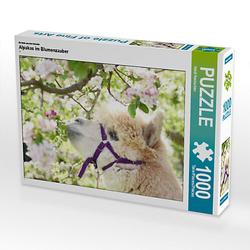 Alpakas im Blumenzauber Lege-Größe 64 x 48 cm Foto-Puzzle Bild von Heidi Rentschler Puzzle