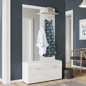 Kompaktgarderobe in Hochglanz Weiß Made in Germany