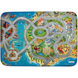 Ultrasoft Spielteppich Stadt am Meer blau Gr. 130 x 180