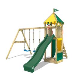 Wickey Spielturm Ritterburg Smart Brave mit Schaukel & grüner Rutsche, Kletterturm mit Sandkasten, Leiter & Spiel-Zubehör