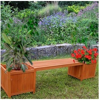 Mucola Gartenbank 180 x 40 x 40 cm braun inkl. zwei Blumenkästen