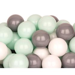BigDean Bällebad-Bälle 200 Bälle 7cm für Bällebad Plastikbälle Spielbälle Kinder Weiß Grau Mint
