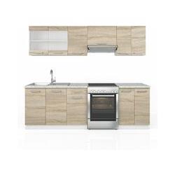 Küche Raul Küchenzeile Küchenblock Einbauküche 240 cm Sonoma - Vicco