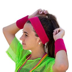 Stirnband + Schweißband Set Pink 3-teilig 80er Jahre 80s Karneval Fasching Motto Party pink