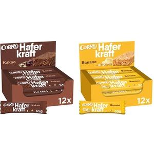 Corny Haferkraft Kakao, 12er Pack (12 x 65 g) & Haferkraft Banane, Haferriegel, 12er Pack (12 x 65g Riegel)