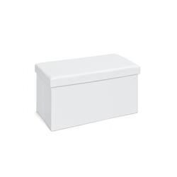 ebuy24 Aufbewahrungsbox Sanne Aufbewahrungsbox Hocker, faltbar mit Deckel, wei� 76 cm x 38 cm x 38 cm