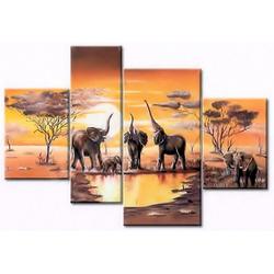 Home affaire Kunstdruck Elefantentränke, (Set, 4 Stück)