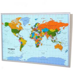 Schneider Pinnwand, Memoboard, aus Kork, Motiv Weltkarte bunt