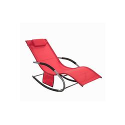 SoBuy Gartenliege OGS28 Swingliege Schaukelliege Sonnenliege Liegestuhl mit Tasche rot