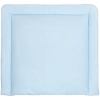 KraftKids Wickelauflage kleine Blätter hellblau auf Weiß, extra Weich (500 g/qm), mit antiallergenem Vlies gefüllt 75 cm x 70 cm