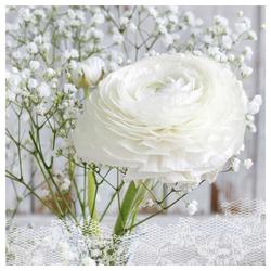 Linoows Papierserviette 20 Servietten, Frühling, Ranunkeln ein weißer, Motiv Frühling, Ranunkeln