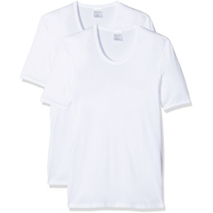 Schiesser 2 StÃ1⁄4ck ( Doppelpack ) Herren 1/2 Arm Unterhemd Feinripp - Weiß: Größe: L