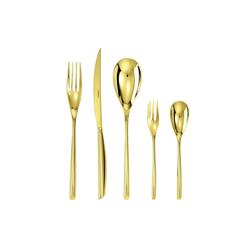 sambonet Besteck-Set Bamboo Edelstahl/PVD Gold Besteck 30-tlg., Vollheftmesser