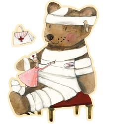 Wall-Art Wandtattoo Gute Besserung kleiner Teddy (1 Stück) 45 cm x 60 cm x 0,1 cm