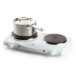 Domo Doppelkochplatte, Mobiles Gußeisen Doppelkochfeld Elektrische 2 Platten Doppel-Kochplatte autark - Ideal für Camping, Garten & Büro