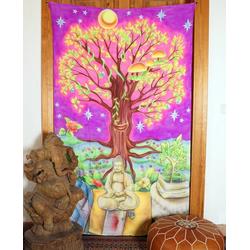 Wandteppich Goa Wandtuch, UV Schwarzlicht Wandbehang,.., Guru-Shop, Höhe 200 mm 120 cm x 200 cm x 200 mm