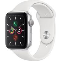 Apple Watch Series 5 GPS 44 mm Aluminiumgehäuse silber, Sportarmband weiß