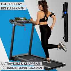 ArtSport Ultra Slim Laufband SR1418 klappbar - große Lauffläche 120x44 cm - 14 km / h - 12 Programme
