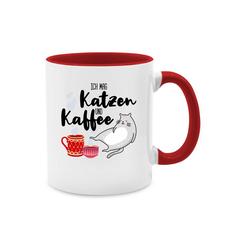 Shirtracer Tasse Ich mag Katzen und Kaffee - Tasse mit Spruch - Tasse zweifarbig - Tassen, ich mag kaffee und katzen