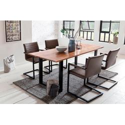 SalesFever Essgruppe, (Set, 5-tlg), mit modernem Holztisch mit Kufengestell, 160 cm braun
