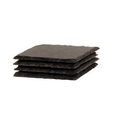 BigDean Getränkeuntersetzer Schiefer-Untersetzer Set 4 teilig 10x10 cm quadrat, 4-tlg.