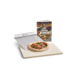 BURNHARD Pizzastein Universal für Backofen & Grill, Cordierit, 38 x 30 x 1.5 cm inkl. Pizzaschieber gelb 30 cm x 1.5 cm