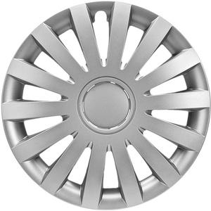 CM DESIGN Radkappen 17 Zoll Wind matt Silber Radzierblenden für Fast Jede handelsüblich Stahlfelge