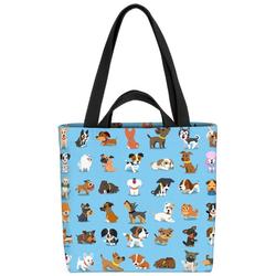 VOID Henkeltasche (1-tlg), Hundewelpen Comic blau Hunde Hündchen Welpen Haustier Tiere Babys Kinder