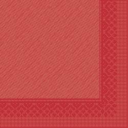 "Mank Tissue Deluxe Servietten ""Basics Uni"", 40 cm x 40 cm, 1/4 Falz, 4-lagig, Farbe: rot, 1 Karton = 6 x 50 Stück = 300 Servietten"