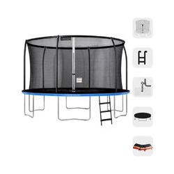 Trampolín redondo al aire libre Azul + Naranja 430 + Escalera + Kit de anclaje + Bolsa fitness de