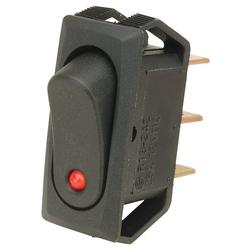 SCI R13-242L B/R RED SPST Rect Push Fit Rock Sw Ci Red LED