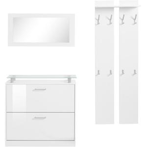 borchardt Möbel Garderoben-Set Finn, (Set, 3 tlg.), mit Glasablage weiß Garderoben-Sets Garderoben