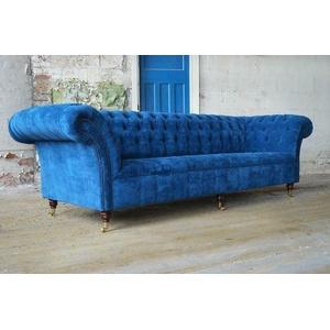 Blaue Chesterfield Couch Polster Textil 4 Sitzer Xxl Big Sofa Couchen Xxl Neu
