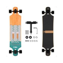 BLUE HAWAII Longboard Longboard, Komplettboard mit Deck aus Bambus & Fiberglas, Flex 2 Longboards mit T-Tool, Profi-Cruiser beige
