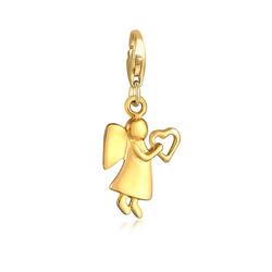 Elli Charm-Einhänger Schutzengel Herz Talisman Glücksbringer 925 Silber, Engel goldfarben