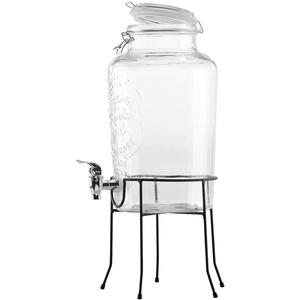 PEARL Getränkespender Bar: Retro-Getränkespender aus Glas mit Ständer, Zapfhahn, 6,5 Liter (Trinkspender)