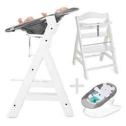 Hauck Hochstuhl Alpha Plus Weiß - Newborn Set Holz Hochstuhl ab Geburt + Neugeboreneneinsatz & Wippe