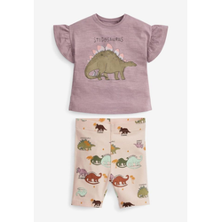 Next T-Shirt & Shorts Passendes Set mit Dino-Motiv (2-tlg) 104-110