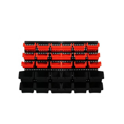 Lüllmann Stapelbox Lagersichtkästen Set 32-TLG. Werkstatt Wandregal Stapelboxen Lagerregal Stapelboxen (Komplett Set, 32 Stück, 32-tlg), - 12 große, schwarze Sichtlagerboxen - 18 mittlere Lagersichtboxen in Rot - 2 Wandplatten