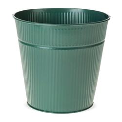 matches21 HOME & HOBBY Blumentopf Zinktopf Übertopf Zink Rillen Struktur dunkelgrün grün 11 cm (1 Stück) 11 cm x 15 cm