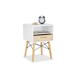 relaxdays Nachttisch Nachttisch weiß mit faltbarer Schublade