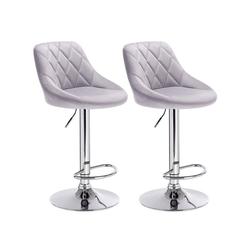 Woltu Barhocker, 2er-Set Barhocker mit gepolsterter Sitzfläche aus Samt grau