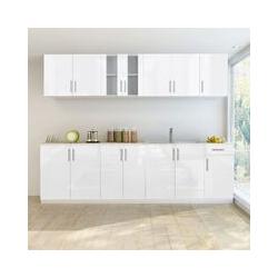 8-tlg. Küchenzeile Hochglanz Weiß 260 cm