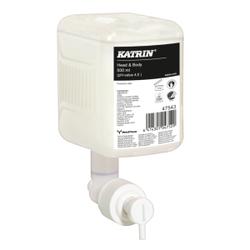 KATRIN Head & Body Duschgel, weiß, Effektives, umweltfreundliches, mildes und sehr hautfreundliches Duschgel, 1 Karton = 12 Patronen à 500 ml