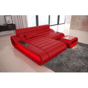 Leder Sofa Couch CONCEPT L kurz Ecksofa Ledercouch Ottomane Beleuchtung rot LED