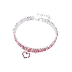 TOPMELON Tier-Halsband, Legierung, Hundehalsband, Kristallkragen & Glänzender Heller Kristalldiamant rosa L