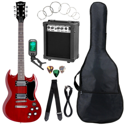 McGrey Rockit E-Gitarre Double Cut-Komplettset Cherry Red