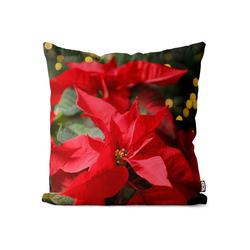 Kissenbezug, VOID (1 Stück), Blumen Weihnachtsstern Pflanzen Kissenbezug Christstern Weihnachtsstern Pflanze 50 cm x 50 cm