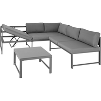 Tectake Faro Lounge-Set Tisch mit Glasplatte grau