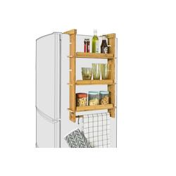 SoBuy Hängeregal FRG150, für Kühlschrank Gewürzregal mit 3 verstellbaren Ablagen Küchenregal natur 42 cm x 73 cm x 10 cm